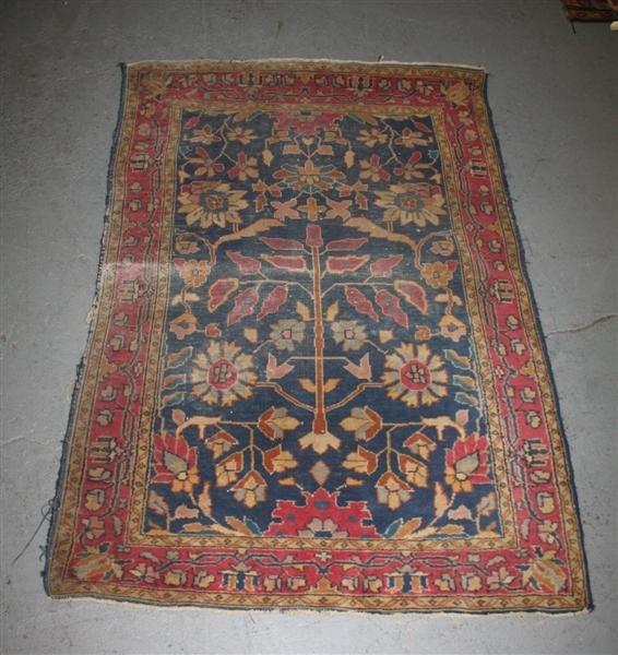 3: Circa 1920 Persian Tribal Mat Brown & Blue