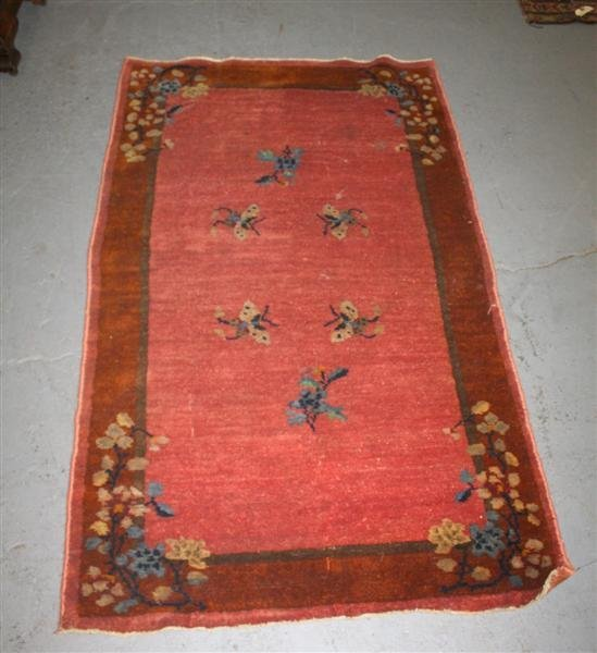 7: Art Deco Oriental Rug in Pinks & Browns ca1930s