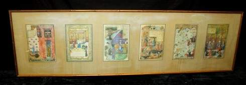 241: 6 18thC Persian Illuminated Manuscript Page Framed