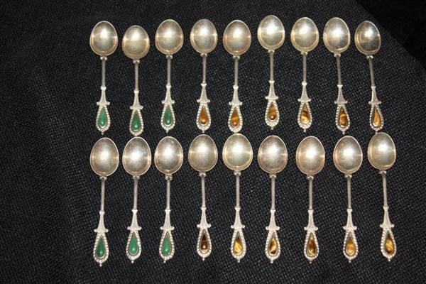3: 18 Sterling Silver Demitasse Spoons w/Gems