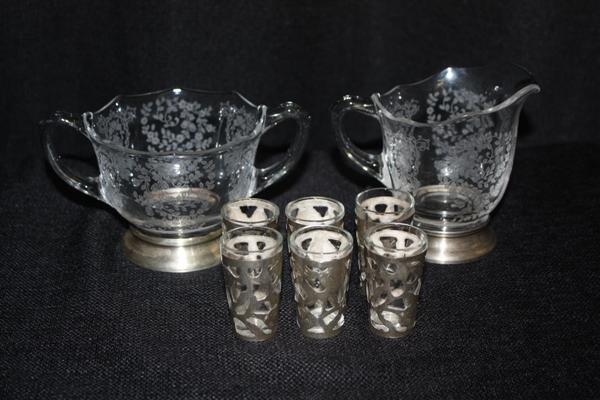 7: Sterling Silver & Glass Shot Glasses Sugar/Creamer