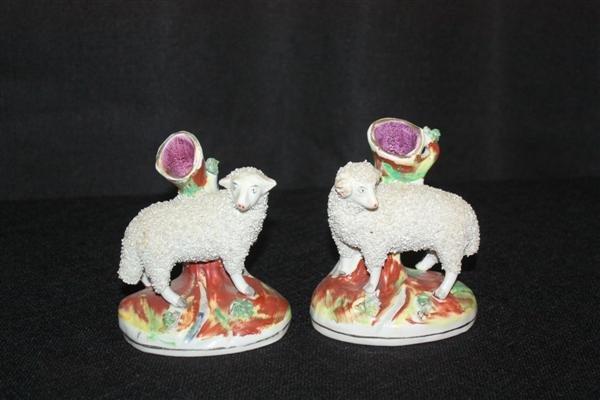 22: Pair Staffordshire Lamb Form Spill Vases