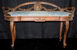 51: Louis XV Style Carved Upholstered Bench