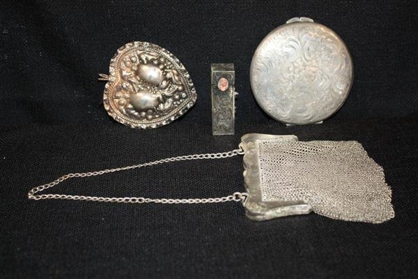 13: Sterling Silver Vanity Items: Compact, Purse etc