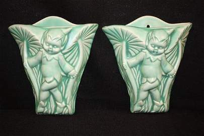 115: Pair Clarice Cliff Green Pixie Wall Pockets