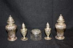 125: Sterling Silver Articles:  Shakers & Dresser Jar