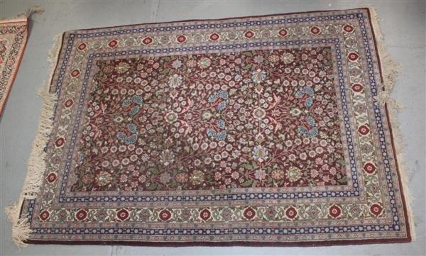 1: Wool Kirman Persian Area Rug