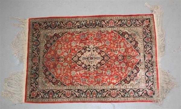 2: Silk Persian Kirman Carpet Red & Black