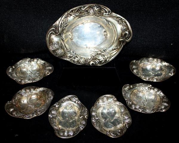 4: Art Nouveau Sterling Silver Nut Bowl & Dishes