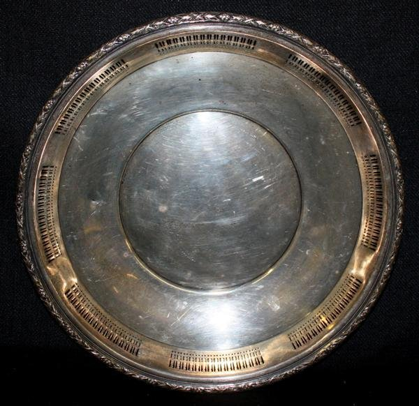 5: Wallace Sterling Silver Platter w/Reticulated Edge