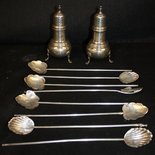 9: Sterling: Salt & Pepper Shakers + 8 Iced Teaspoons