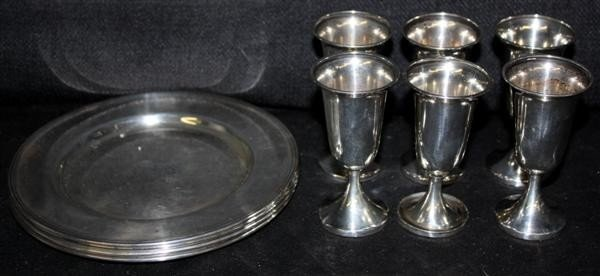 14: 4 Sterling Silver Plates & 6 Cordials