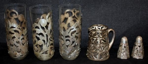 16: Sterling Silver Overlay: Tumblers Shakers Pitcher