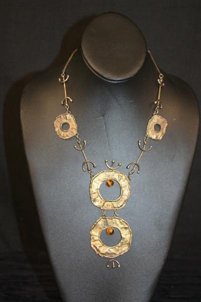 22: Israeli Sterling Modernist Necklace w/Tigers Eye