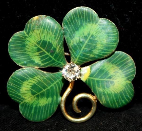 41: 14kt Gold Enameled 4 Leaf Clover Brooch w/Diamond