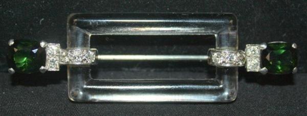 51: Cartier Platinum Diamond Rock Crystal Deco Brooch