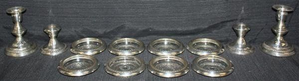9: Weighted Sterling Candlesticks and Coasters