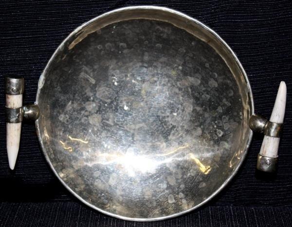 11: Sterling Silver Bowl w/Bone Handles