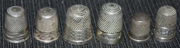 20: 6 Sterling Silver Thimbles: English & Continental
