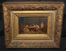 101: Loustaunau Oil on Panel Domestic Scene Sketch?