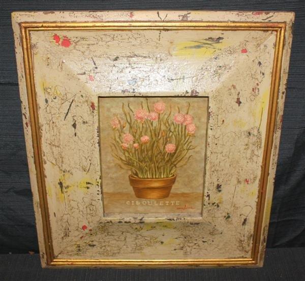262: Trevor James O/C Chives in Painted Frame