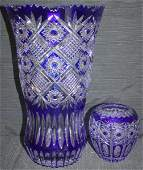 394: 2 Blue & White Cut to Clear Vases