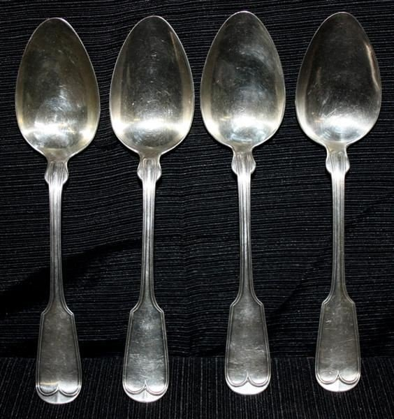 10: 4 Coin Silver Table Spoons: Ball Tompkins & Black
