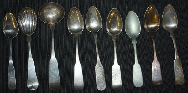 11: 9 Coin Silver Spoons: Sugar Shell, Ladle & Tsp
