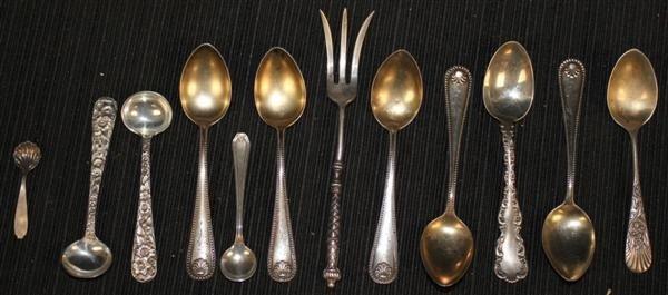13: 11 Sterling Demitasse & Salt Spoons + Lemon Fork