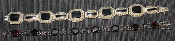 17: Sterling Jewelry 2: 2 Bracelets Onyx Garnet/Spinel