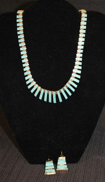 20: 950 Silver Egyptian Revival Necklace/Earrings