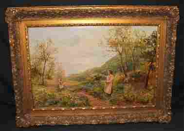 68: Ernest C Walbourn O/C Gathering Flowers w/Child
