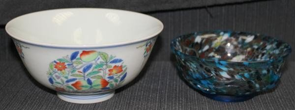 136: 2 Chinese Bowls: Porcelain & Glass
