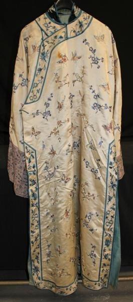 162: 19thC Embroidered Silk Dress w/Butterflies