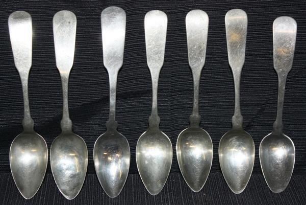 10A: 7 Coin Silver Teaspoons ca. 1810-1850