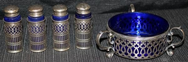 4: Sterling Silver & Cobalt Shakers & Master Salt