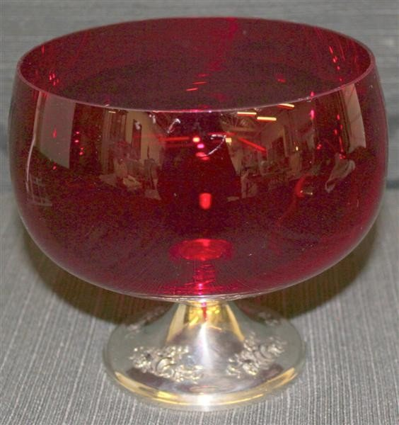 6: Gorham Sterling Silver Compote w/Ruby Glass