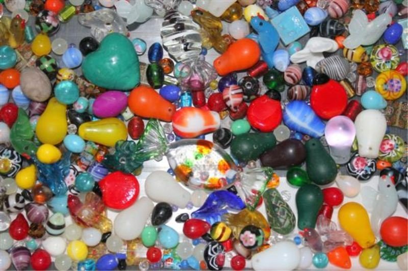 17: 100+ Hand Made Glass Beads: Murano Millefiore etc