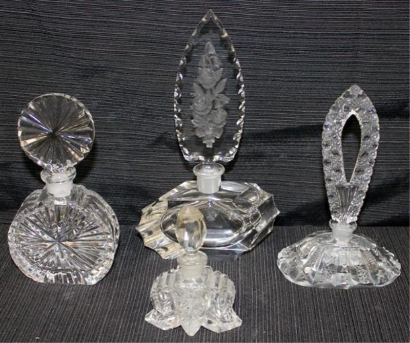 22: 4 Cut Crystal Perfume Bottles