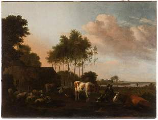 Albert Clomp (1625–1688), Dutch Evening Landscape