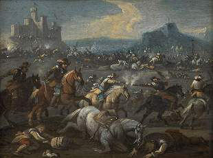 Italian masters 17th century Two cavalry battles in