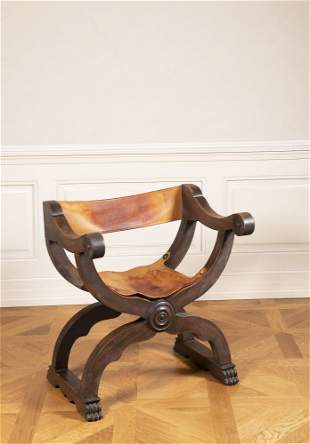 Two Folding Scissor Chairs in Renaissance Style.