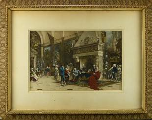 A VICTORIAN HAND COLORED PRINT OF A FRENCH COURT
