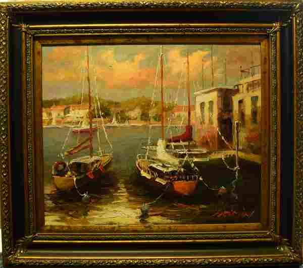 AN OIL PAINTING OF BOATS IN HARBOR
