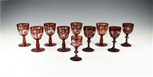 A GROUP OF ANTIQUE RUBY RED WINE SANDWICH GLASS