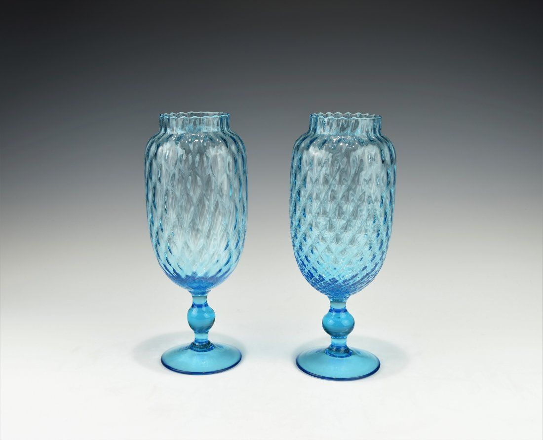 A PAIR OF TURQUOISE HAND BLOWN PEDESTAL VASE