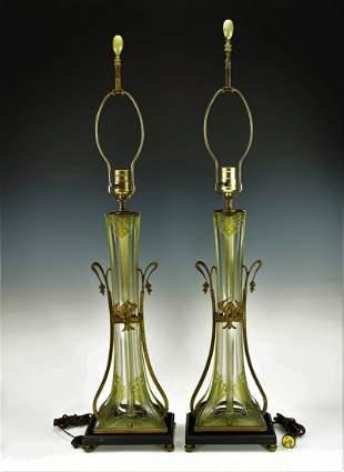 A PAIR OF ART NOUVEAU ETCHED GLASS LAMPS