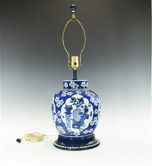 A LARGE CHINESE BLUE AND WHITE VASE CONVERTED LAMP