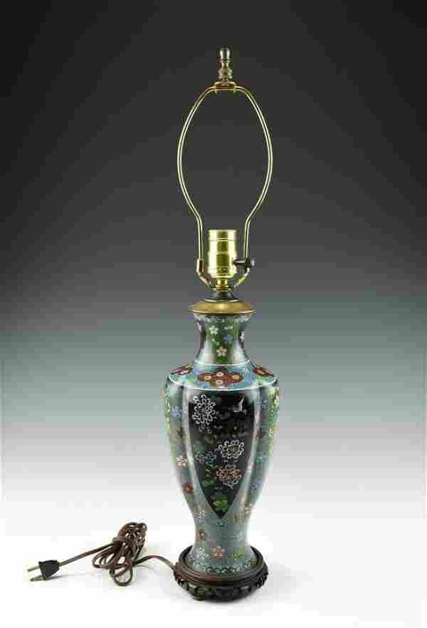 AN OLD ORIENTAL CLOISONNÉ LAMP
