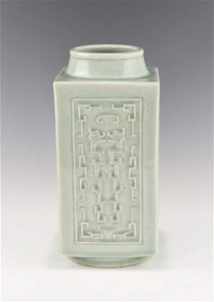 A CHINESE CELADON CONG VASE